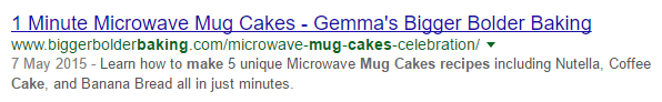 google search results meta tags