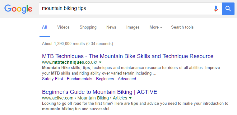 mountain biking search results