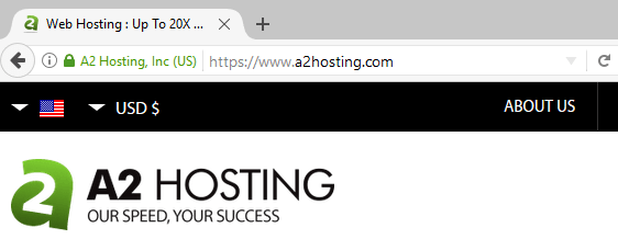 An example of a website using HTTPS.
