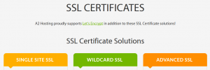 An example of several web hosting plans offering SSL certificates.