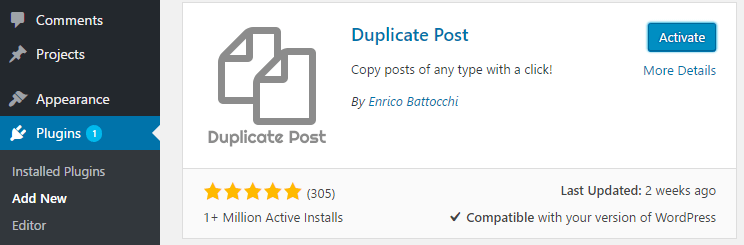 Activating a plugin.