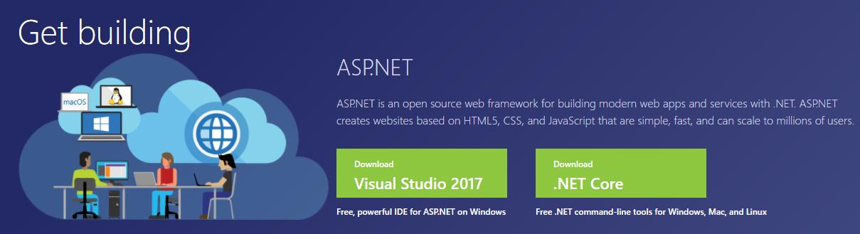 The ASP.NET homepage.
