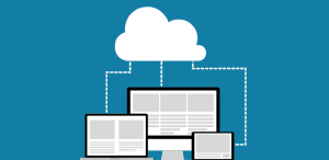 An illustration of computer screens linked by a cloud.