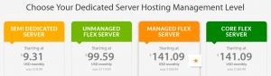An example of multiple dedicated server plans.
