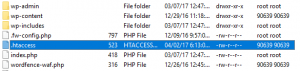 Locating the .htaccess file.