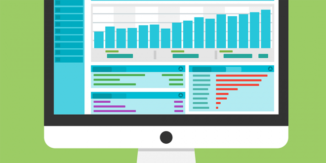 An illustration of a screen showing analytics.