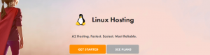 A2 Hosting's Linux hosting page.