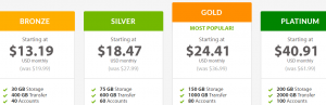 An example of a web hosting price table.