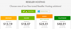 An example of multiple reseller hosting plans.