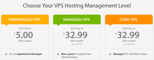 An example of several VPS hosting plans.