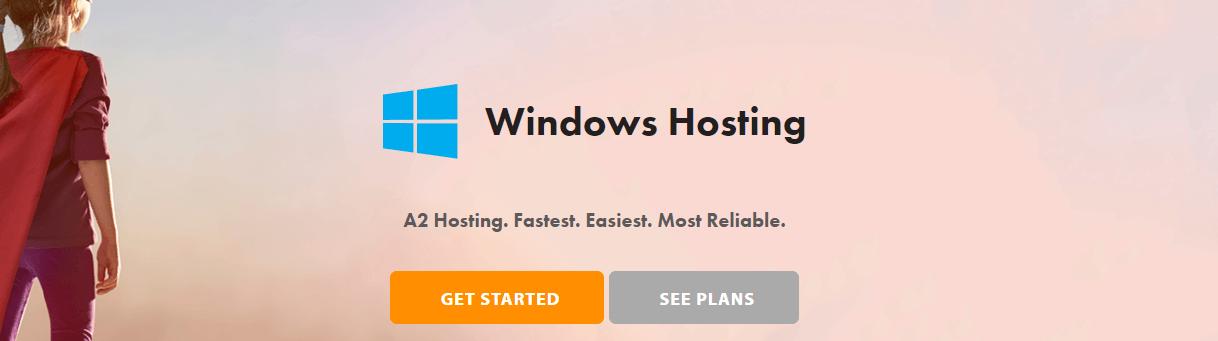 A2 Hosting's Windows hosting page.