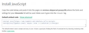 Your Adobe Typekit integration code.