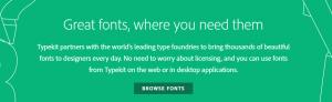 The Adobe Typekit homepage.