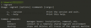 A list of commands that can be used with Vagrant.