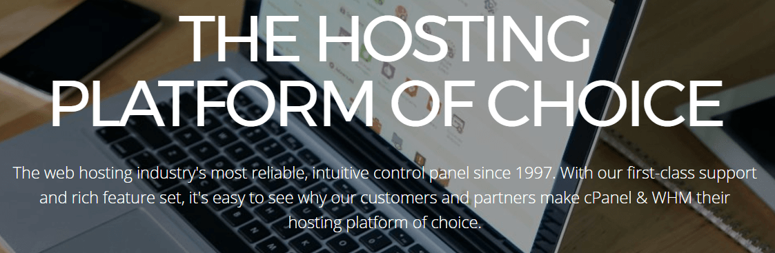 The cPanel homepage.