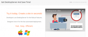 The DesktopServer homepage.