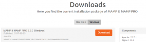 Downloading MAMP.
