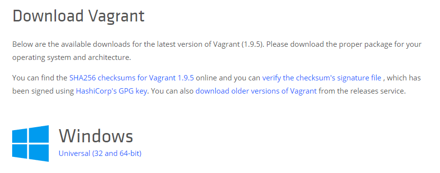 Downloading Vagrant.