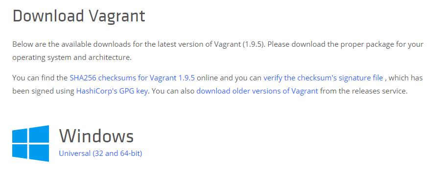 Downloading Vagrant.