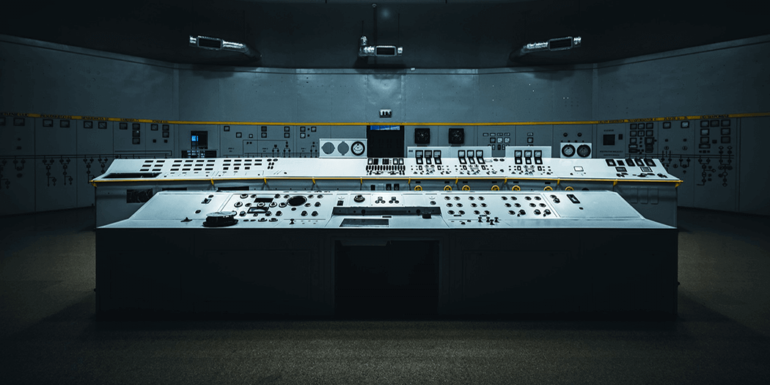 A control panel in the middle of a datacenter.