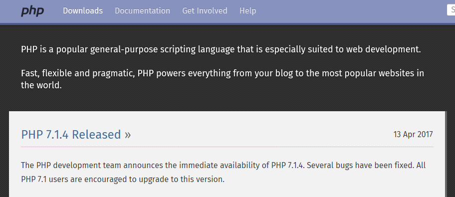 The PHP homepage.