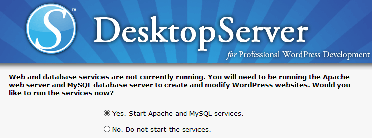 Starting the Apache and MySQL services.