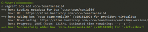 The success message that appears when Vagrant completes its download.