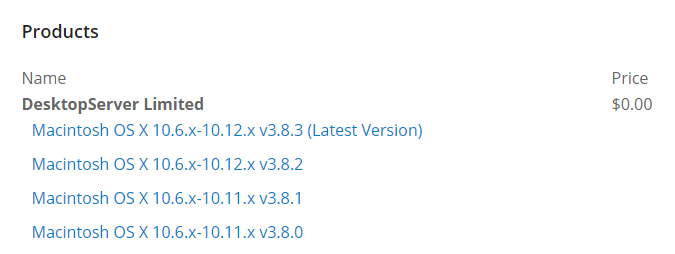 A list of the available DesktopServer versions.