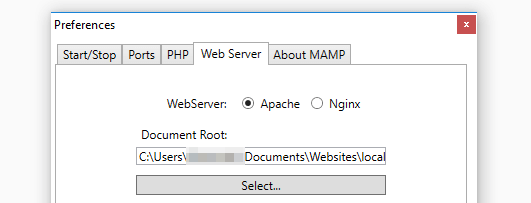 MAMP's web server tab.
