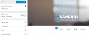 The WordPress customizer.