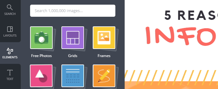 The type of elements you can add to your Canva infographics.
