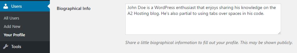 Editing your WordPress profile information.
