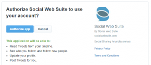 Authorizing the Social Web Suite to connect to your account.