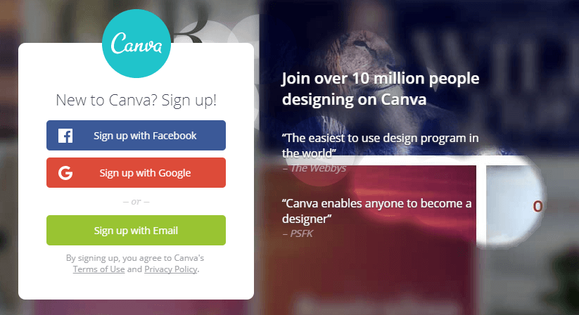 The Canva home page.