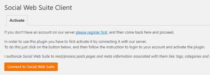 Connecting to the Social Web Suite platform.