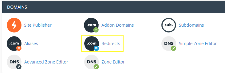 Using your cPanel to set up a redirect.