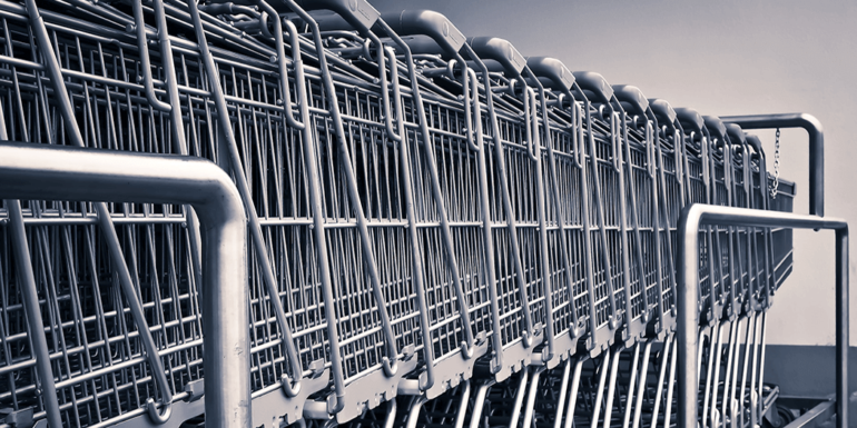 A rack of shopping carts.