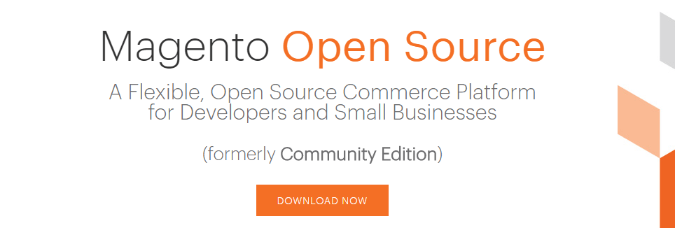 The Magento homepage.