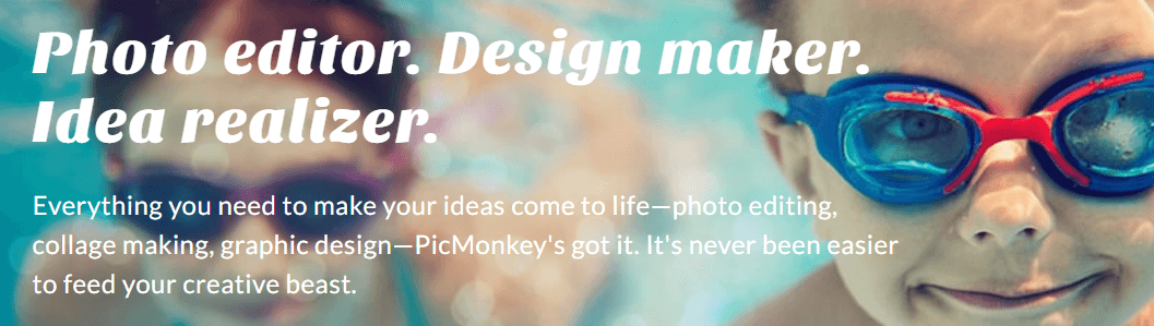 The PicMonkey homepage.