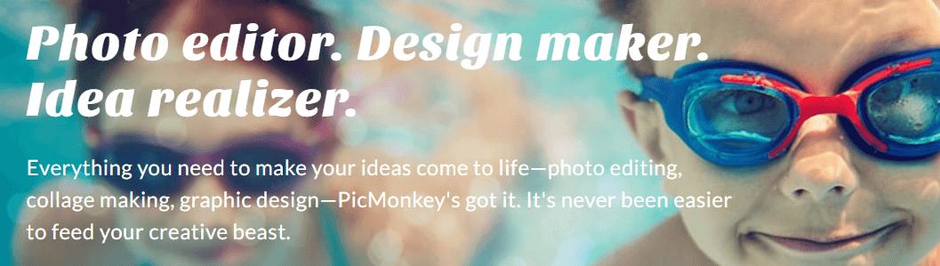 The PicMonkey homepage.