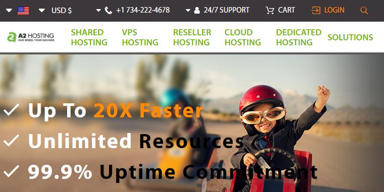 A2 Hosting's mobile website.