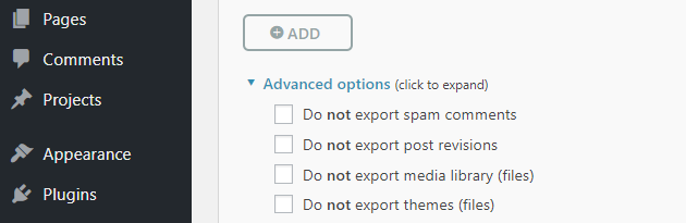 The plugin's advanced options.