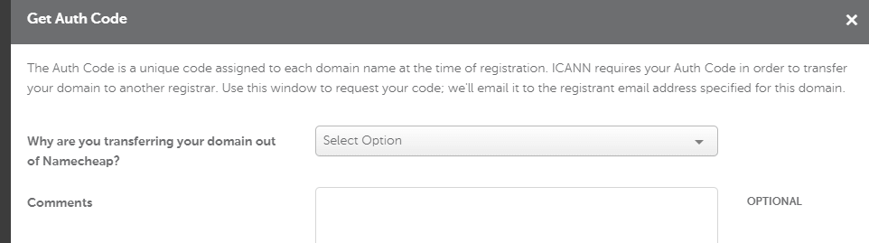 Getting an authorization code for your domain transfer.