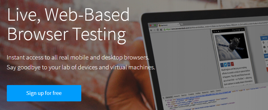 The BrowserStack homepage.