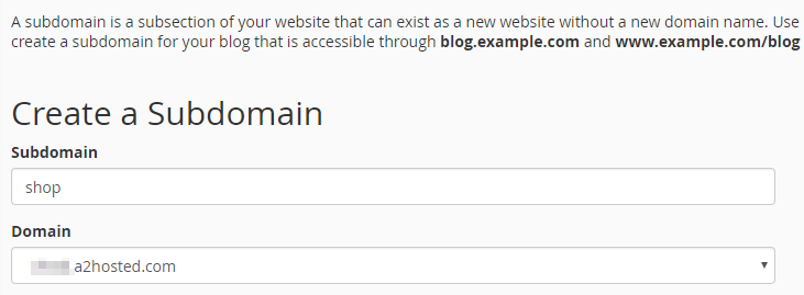 Creating a new subdomain.