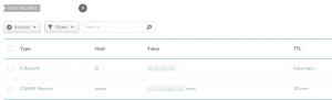 A registrar's domain management section.