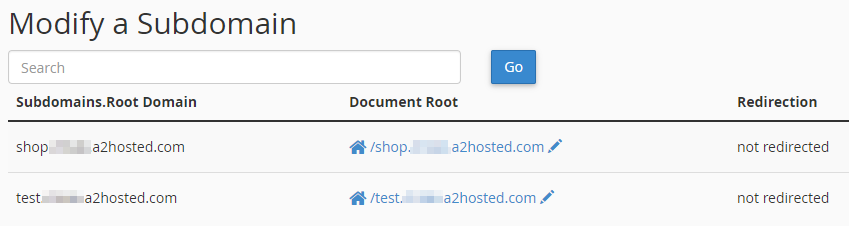 A list of existing subdomains.