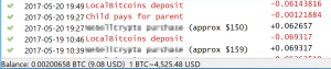 A Bitcoin wallet displaying multiple transactions.