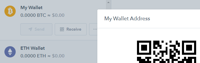 The Coinbase Bitcoin wallet.