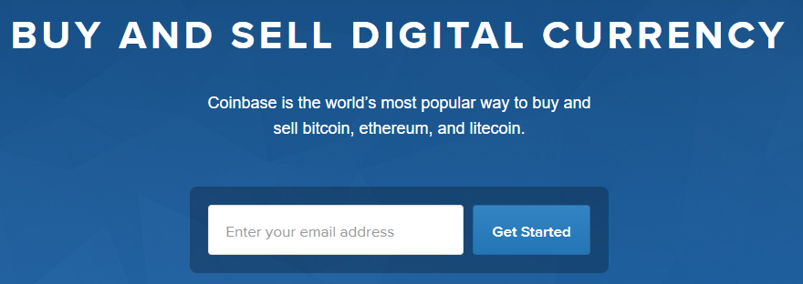 The Coinbase homepage.
